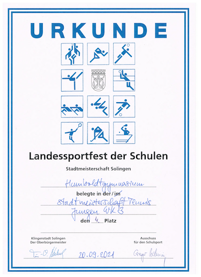 Urkunde Tennis Stadtmeisterschaft Humboldt 2021